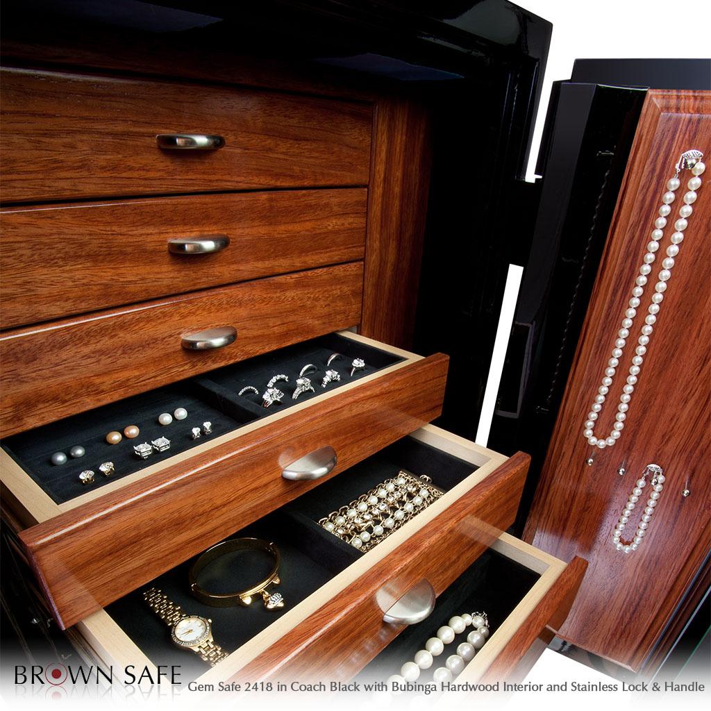 Jewelry Safe Black With Bubinga Gem Elite 2418